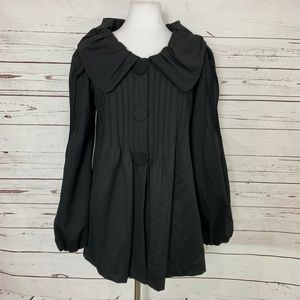 Matty M XS Black Pea Coat Bishop Sleeves